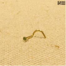 Улитка золотистая  (0.8мм)  |  Зеленый страз | цена за 1шт.