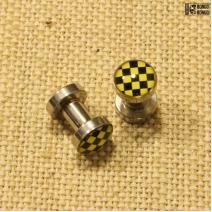 Плаги из стали жёлтые  (в «шашечку») 4мм | 1шт.