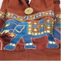 Сумка красная «синий слон» хлопок Индия