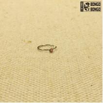 Кольцо в нос закрытое с розовой стразой 0.8мм*8мм | 1шт.