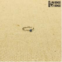 Кольцо в нос закрытое с голубой стразой 0.8мм*8мм | 1шт.